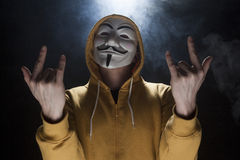 Anonymous activist hacker with mask studio shot Stock Photo