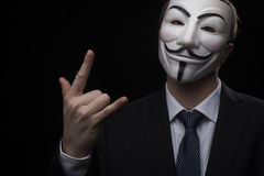 Anonymous activist hacker with mask studio shot Stock Photography