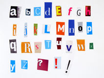 Anonymous alphabet. Alphabet made of newspaper clippings - colorful ABC Stock Photography