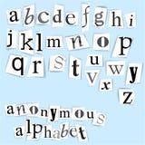 Anonymous alphabet Royalty Free Stock Photos