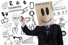 Anonymous businessman makes success formula Royalty Free Stock Images