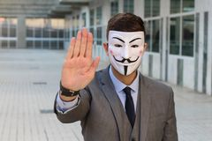 Anonymous businessman protesting with copy space stock photos