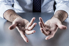 Anonymous businessman, salesman or politician hands for openness and discussion Royalty Free Stock Photos