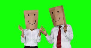 Anonymous businesspeople clap hands and show thumb up stock footage