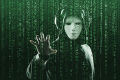 Anonymous computer hacker over abstract digital background. Obscured dark face in mask and hood. Data thief, internet. Attack, darknet fraud, dangerous viruses stock photography