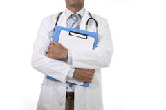 Anonymous corporate portrait of confident male medicine doctor with stethoscope holding clipboard royalty free stock images