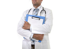 Anonymous corporate portrait of confident male medicine doctor with stethoscope holding clipboard royalty free stock photography