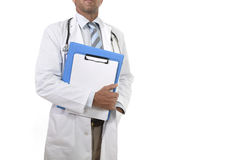 Anonymous corporate portrait of confident male medicine doctor with stethoscope holding clipboard stock photo