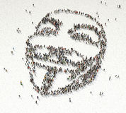 Anonymous Crowd Formation. Aerial view of crowd gathering shaped as anonymous symbol royalty free illustration