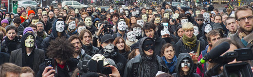 Anonymous Demonstration Against Internet ACTA Stock Photos