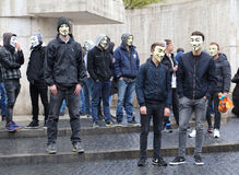 Anonymous demonstration in Amsterdam, Holland Stock Images