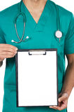 Anonymous doctor whit notepad Royalty Free Stock Images