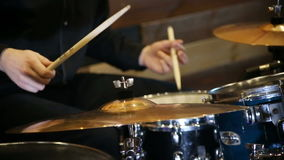 Anonymous Drummer Drumming on Stage stock footage