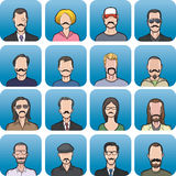 Anonymous faces with mustaches set. Vector illustration of anonymous faces with mustaches in set - head and shoulders composition. Easy-edit layered vector EPS10 Royalty Free Stock Images