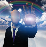 Anonymous figure radiates light from hand. High Resolution Illustration anonymous figure radiates light from hand Royalty Free Stock Photos