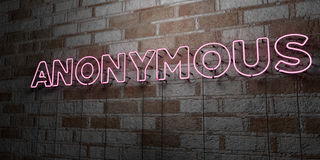 ANONYMOUS - Glowing Neon Sign on stonework wall - 3D rendered royalty free stock illustration Royalty Free Stock Photos