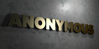 Anonymous - Gold sign mounted on glossy marble wall  - 3D rendered royalty free stock illustration Stock Photo