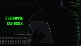 Anonymous hacker remotely deactivating security system, power supplied stopped stock footage