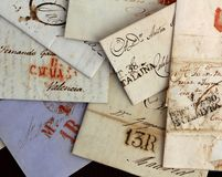 Anonymous handwritten real old letters from Spain. Anonymous handwritten antique real old letters from Spain postmail stock photography