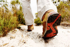 Anonymous hiking shoe walking Royalty Free Stock Photography