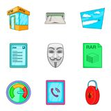 Anonymous icons set, cartoon style Royalty Free Stock Image