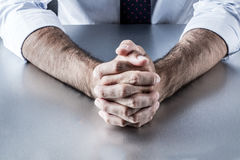 Anonymous leader hands waiting or thinking at meeting or interview Stock Photography
