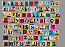 Anonymous letter. Letters and numbers cut out from old magazines and newspapers Isolated on gray background,in vector format Royalty Free Stock Images