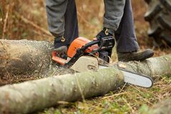 Lumberjack with chainsaw working. Anonymous lumberjack with chainsaw cutting logs stock images