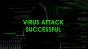 Anonymous male successfully attacking server by virus, cyber crime threat