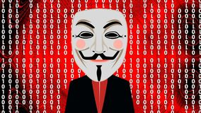 Anonymous man speaking against digitaly binary code background animation stock video