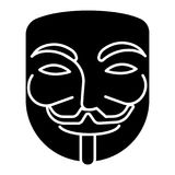 Anonymous - mask carnival - hacker icon, vector illustration, black sign on isolated background Royalty Free Stock Photo