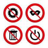Anonymous mask and gear signs. Recycle bin icon Royalty Free Stock Photo
