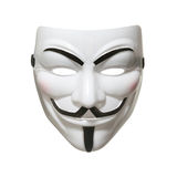 Anonymous mask (Guy Fawkes Mask). Studio shot of an Anonymous face mask, known as Guy Fawkes Mask from the movie V for Vendetta on white background stock photography
