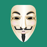 Anonymous mask isolated on green. Mysterious person masque Stock Photos