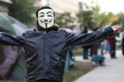 Anonymous mask on Occupy DC Protester Royalty Free Stock Photo
