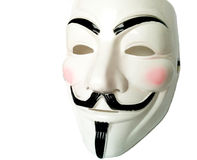 Anonymous mask. Anonymous or V for Vendetta face mask or Guy Fawkes mask from the movie V for Vendetta. Isolated on white background stock photography