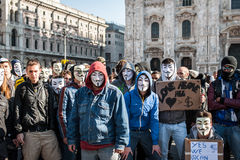 Anonymous in Milan Royalty Free Stock Images