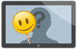 Anonymous Online Figure Hiding Behind Emoji. On Tablet Screen Royalty Free Stock Photos