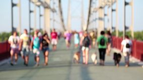 Anonymous people and dogs on the bridge stock footage