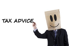 Anonymous person with tax advice Stock Image