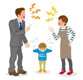 Anonymous Quarreling Parents and crying son.  Royalty Free Stock Photo
