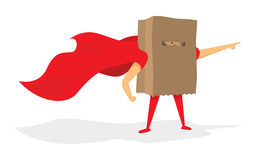 Anonymous super hero with paper bag and cape Royalty Free Stock Photos