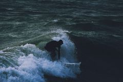 Anonymous surfer. In Bournemouth Stock Photo
