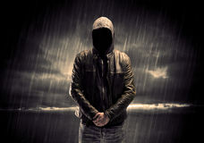 Anonymous terrorist in hoodie at night Royalty Free Stock Photos