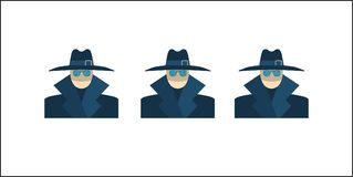 Anonymous Vector Icon. Anonymous Concept, Spy, Hidden, Security, Gangster, Detective, Agent, Hat Sunglasses Flat Vector Icon Isolated on White Background Royalty Free Stock Image