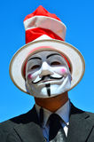 Anonymous, wearing Guy Fawkes mask Royalty Free Stock Photo