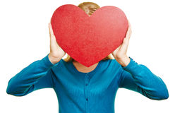 Anonymous woman hold red heart Royalty Free Stock Photo