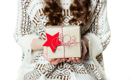 Anonymous woman holding beautifully wrapped present Stock Photo
