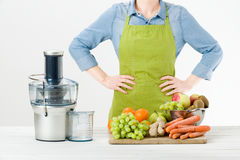 Anonymous woman wearing an apron, ready to start preparing healthy fruit juice using modern electric juicer, healthy lifestyle con Royalty Free Stock Images