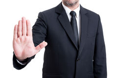 Anonymus business man showing stop gesture Royalty Free Stock Photo